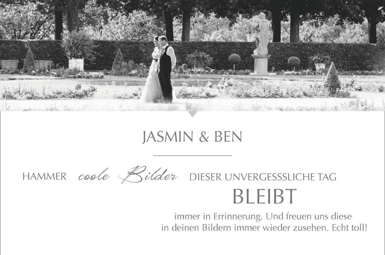 Kompliment von Jasmin & Ben zur Arbeit von Monika Schweighardt Photography