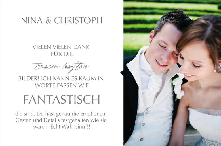 Schöne Worte von Nina & Christoph zu der Arbeit von Monika Schweighardt Photography